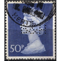 3179 Inglaterra Perfin Scott# Mh167 Reina 50p Usado 1990-05