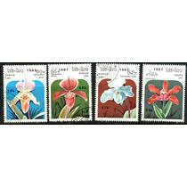 0328 Orquideas Laos 4 Sellos C T O N H 1987