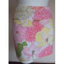 Minifalda Floreada En Rosa Y Amarillo, Talla S! Fch335
