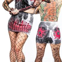 Falda Kreepsville 666 Estampado Calavera Horror Zombie