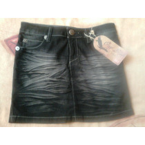 Falda Oggi Jeans Original, Corta Mezclilla Negro Jaspeado,