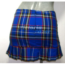 Minifalda Escocesa Color Azul Talla Chica