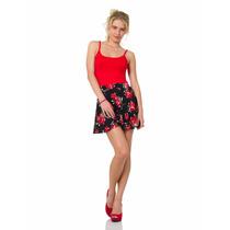 Falda Circular Negra De Flores Rojas