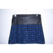 Bonita Falda Metropolis T- 9 Azul Con Negro Para Dama
