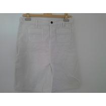 Falda Tres Cuartos Blanca Pana Abercrombie