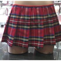 Minifalda De Colegiala Roja Unitalla Colores
