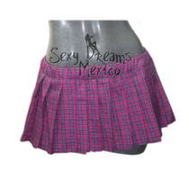 Minifalda Escocesa Color Rosa Con Azul Talla Mediana