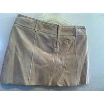 Minifalda De Piel Color Beige Talla 8