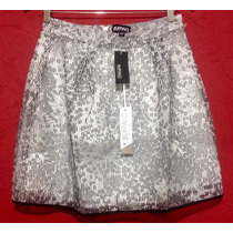 Mini Falda Fashion Elegante Plata Negro /blanco T M Plata