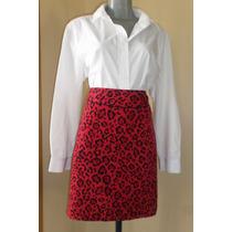 Falda Roja Estampado Leopardo Talla 40