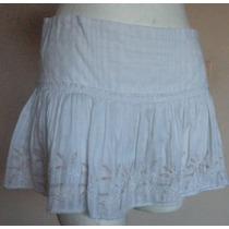 Minifalda Blanca Con Bordados, Talla 6!! Fch349