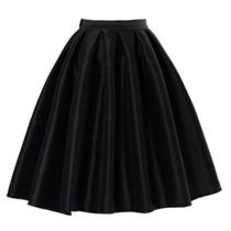 Hermosa Falda Midi Color Negro Chicwish