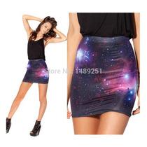 Falda Minifalda Strech Estampado Galaxia
