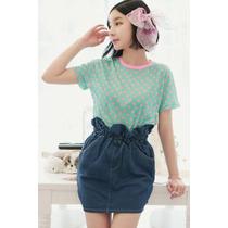 Suku 40430 Falda Cintura De Resorte Moda Japón $509