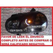 Faros Deportivos Para Golf A4 Con Leds Fondo Negro