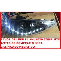Faros Deportivos Peugeot 206 Lupa Y Leds Tipo Audi Luz Dia