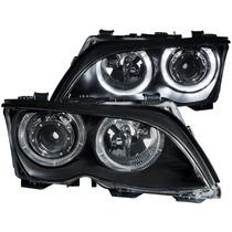 Bmw 3 Series E46 02-05 4dr Projector H.l Halo Black