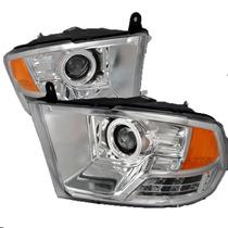 Faros De Lupa Halo Ccfl Cromados Para Dodge Ram 2009 - 2010