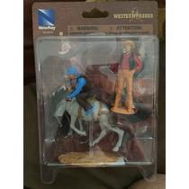 Newray Wester Rodeo Figuras 2 Vaqueros Y Un Caballo Con Base
