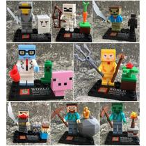 Set Completo De Minecraft Zomie Steve Sheleton Cre Tipo Lego