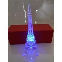 Torre Eiffel Vidrio Con Luz !!!! 19.5 Cm Grabado Paris