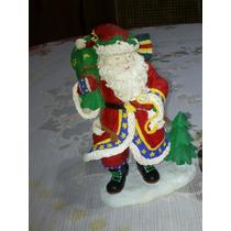 Figura De Santa Claus Con Saco De Juguetes Y Reloj De Oro
