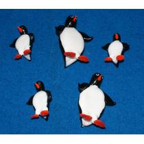 Juego De 5 Pingüinos En Cristal De Murano