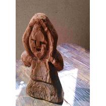 Antigua Figura De Monje Tallado En Madera