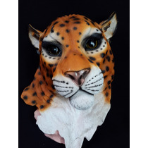 Cabeza De Animal De Jaguar Decorativa En Resina Gmfr017