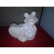 Alcancia De Yeso Ceramico Blanco Para Pintar Rana Corazon