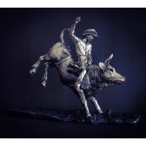 Escultura Toro De Rodeo Plata .999 Electro Figura Decorativa