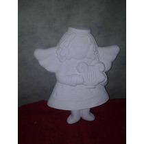 Angel Navideño Yeso Ceramico Blanco Para Pintar Alcancias