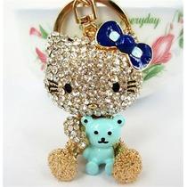 Llaver Tipo Swarovski Hello Kitty Con Oso