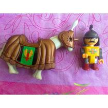 Figura Tipo Lego De Jinete Y Caballo Medieval