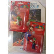 Rompecabezas Mario Bros + 2 Figuras Coleccionables Nuevo
