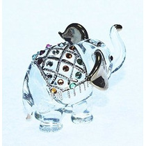 Elefante Figura Dollhouse Miniatures Animales Swarovski Crys