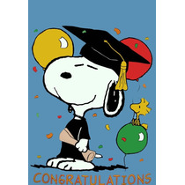Bandera Vintage De Snoopy Graduado Graduacion Rara Peanuts