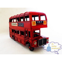 Autobus Ingles London Rojo Escala Vintage Retro Metal