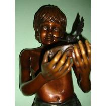 Niño Con Colibrí, Escultura De Bronce, Base De Marmol Op4