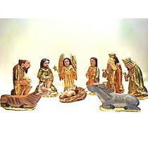 Nacimiento De Madera Con Hoja De Oro (10 Piezas)