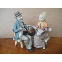 Abuelitos De Porcelana Lefton, Pintados A Mano, Usado