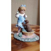 Perro Con Niña Figura De Porcelana Antigua