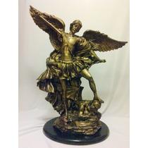 San Miguel Arcangel Resina Dorado Antiguo Bello Regalo