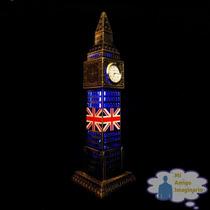 Torre Big Ben 30cm Reloj Real Metal Londres Inglaterra C Luz