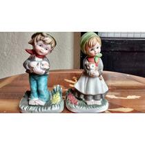 Niños Con Mascotas Figuras De Porcelana Antigua