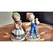 Niños Granjeros Figuras De Porcelana Fina Antigua
