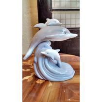 Delfines, Lámpara De Fina Porcelana De Taiwan.