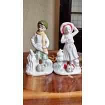 Niños En La Nieve Figuras De Porcelana Fina