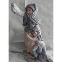 Porcelana Lladro Niños Con Farola Antigua Excelente