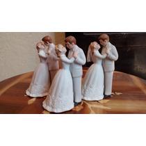 Novios, 3 Figuras De Porcelana Antigua